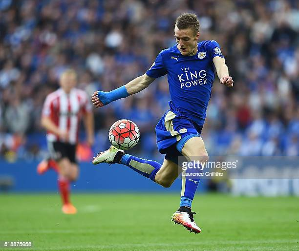Jamie Vardy of Leicester City controls the ball during the Barclays Premier League match between Leicester City and Southampton at The King Power...