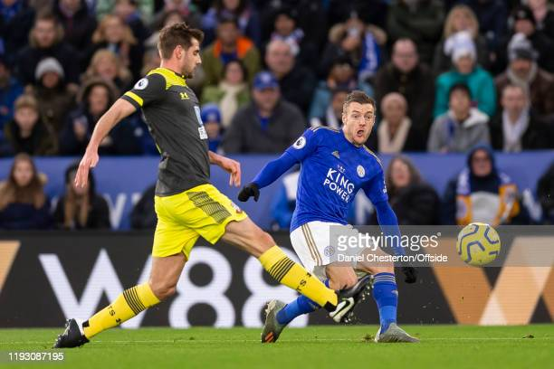 Jamie Vardy of Leicester City crosses the ball for their first goal during the Premier League match between Leicester City and Southampton FC at The...