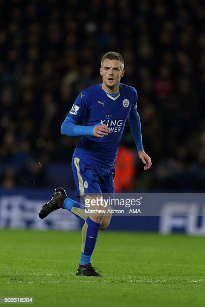 Jamie Vardy of Leicester City during the Barclays Premier League match between Leicester City and Manchester City at The King Power Stadium on...