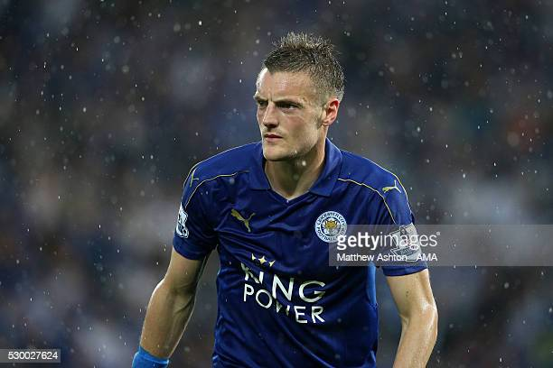 Jamie Vardy of Leicester City during the Barclays Premier League match between Leicester City and Everton at The King Power Stadium on May 7 2016 in...
