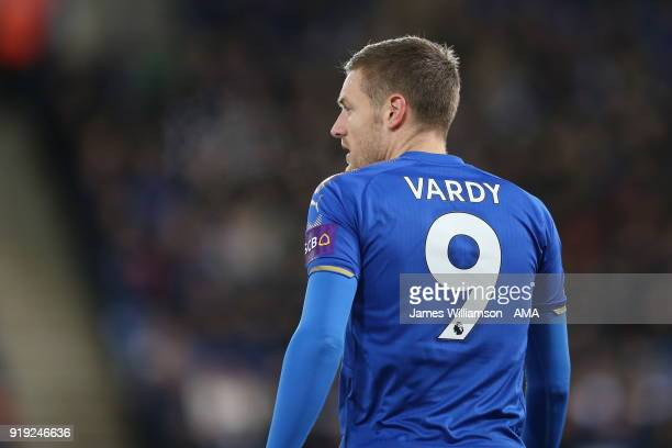 Jamie Vardy of Leicester City during the Emirates FA Cup Fifth Round match between Leicester City and Sheffield United at The King Power Stadium on...