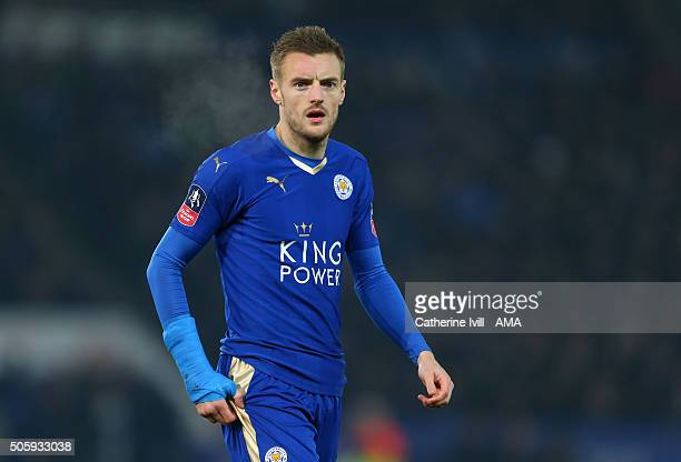 Jamie Vardy of Leicester City during the Emirates FA Cup match between Leicester City and Tottenham Hotspur at King Power Stadium on January 20 2016...