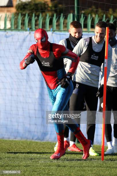 Jamie Vardy of Leicester City during the Leicester City training session at Belvoir Drive Training Complex on January 17, 2019 in Leicester, United...