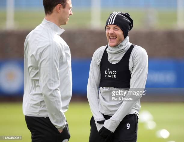 Jamie Vardy of Leicester City during the Leicester City training session at Belvoir Drive Training Complex on March 14, 2019 in Leicester, United...