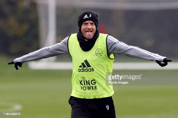 Jamie Vardy of Leicester City during the Leicester City training session at Belvoir Drive Training Complex on November 06, 2019 in Leicester, United...