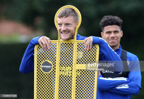 Jamie Vardy of Leicester City during the Leicester City training session at Belvoir Drive Training Complex on September 11th, 2020 in Leicester,...