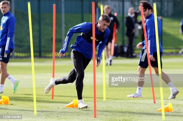 Jamie Vardy of Leicester City during the Leicester City training session at Belvoir Drive Training Complex on September 25th, 2020 in Leicester,...