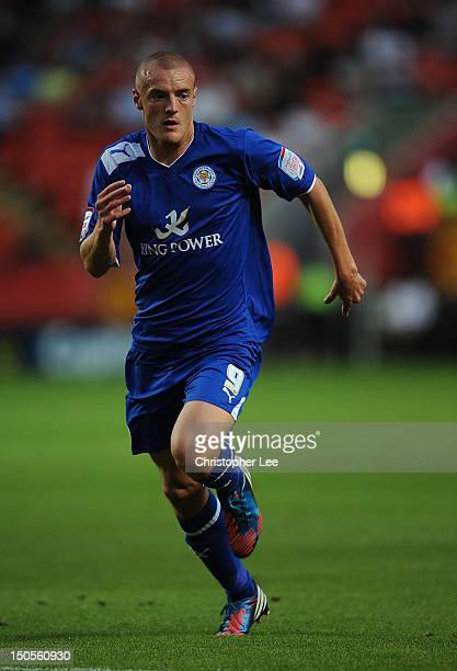 Jamie Vardy of Leicester City during the npower Championship match between Charlton Athletic and Leicester City at The Valley on August 21 2012 in...