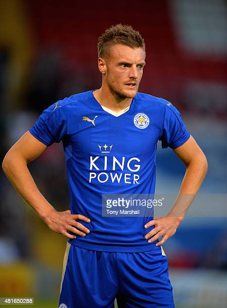 Jamie Vardy of Leicester City during the Pre Season Friendlly match between Lincoln City and Leicester City at Sincil Bank Stadium on July 21 2015 in...