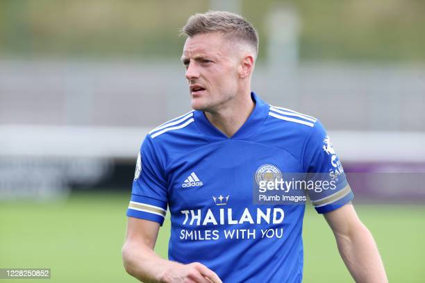 Jamie Vardy of Leicester City during the pre season friendly match between Leicester City and Sheffield Wednesday at Loughborough University Stadium...