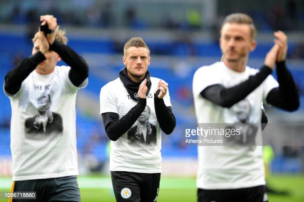Jamie Vardy of Leicester City during the prematch warmup for the Premier League match between Cardiff City and Leicester City at Cardiff City Stadium...