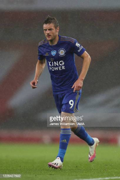 Jamie Vardy of Leicester City during the Premier League match between Arsenal FC and Leicester City at Emirates Stadium on July 7 2020 in London...