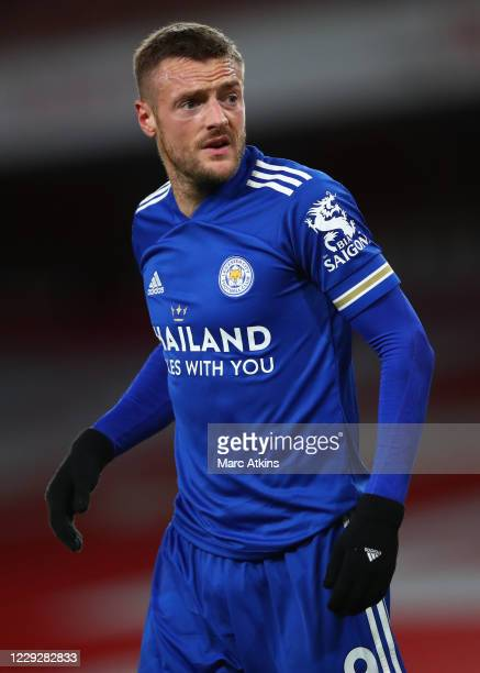 Jamie Vardy of Leicester City during the Premier League match between Arsenal and Leicester City at Emirates Stadium on October 25 2020 in London...