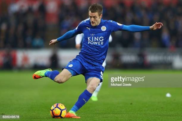 Jamie Vardy of Leicester City during the Premier League match between Swansea City and Leicester City at Liberty Stadium on February 12 2017 in...