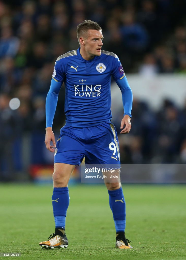 Jamie Vardy of Leicester City during the Premier League match between Leicester City and West Bromwich Albion at The King Power Stadium on October 16, 2017 in Leicester, England.