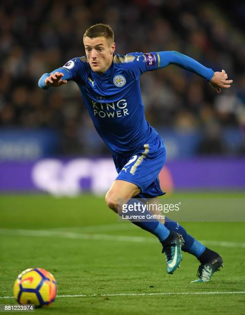 Jamie Vardy of Leicester City during the Premier League match between Leicester City and Tottenham Hotspur at The King Power Stadium on November 28...