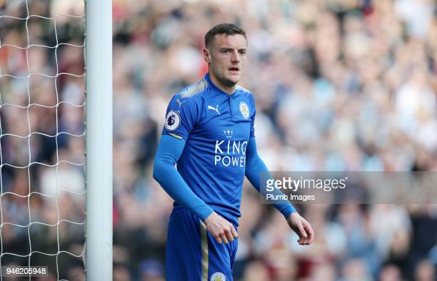 Jamie Vardy of Leicester City during the Premier League match between Burnley and Leicester City at Turf Moor on April 14th 2018 in Burnley United...