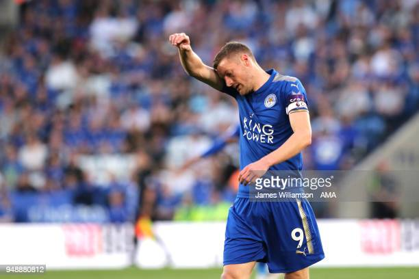 Jamie Vardy of Leicester City during the Premier League match between Leicester City and Southampton at The King Power Stadium on April 19 2018 in...
