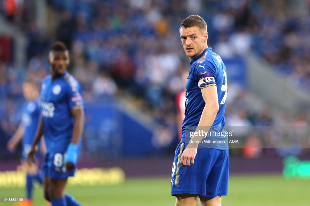 Jamie Vardy of Leicester City during the Premier League match between Leicester City and Southampton at The King Power Stadium on April 19, 2018 in Leicester, England.
