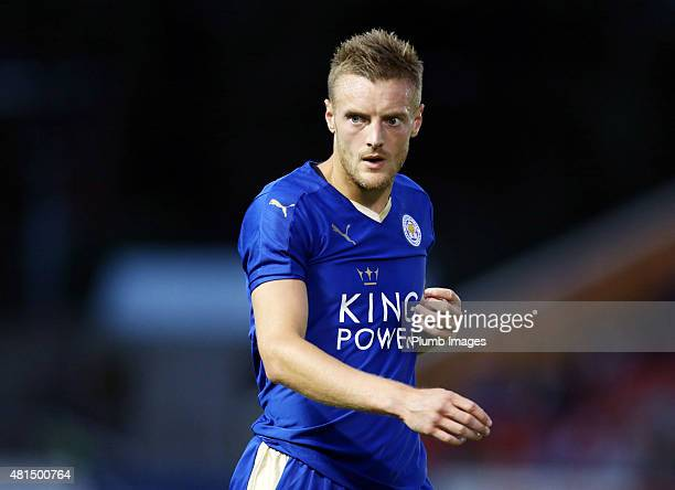 Jamie Vardy of Leicester city during the preseason friendly between Lincoln City and Leicester City at Sincil Bank Stadium on July 21 2015 in Lincoln...