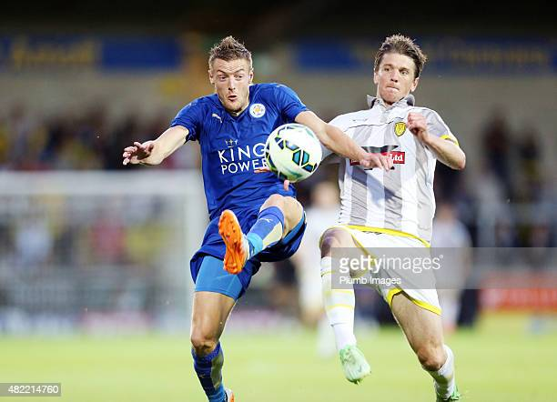 Jamie Vardy of Leicester City during the preseason friendly between Burton Albion and Leicester City at Pirelli Stadium on July 28 2015 in...
