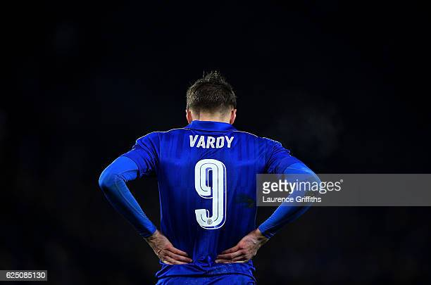 Jamie Vardy of Leicester City during the UEFA Champions League Group G match between Leicester City FC and Club Brugge KV at The King Power Stadium...