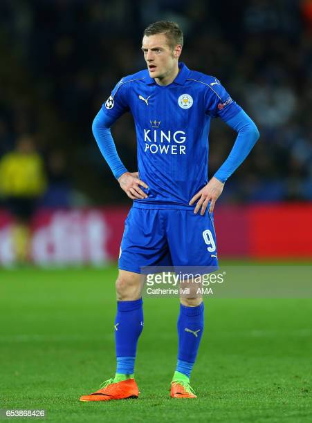 Jamie Vardy of Leicester City during the UEFA Champions League Round of 16 second leg match between Leicester City and Sevilla FC at The King Power...