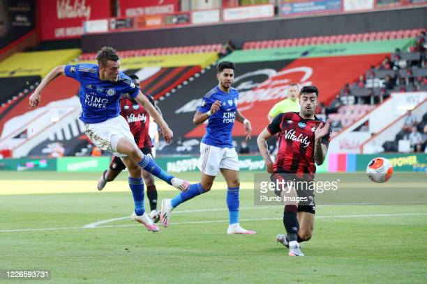 Jamie Vardy of Leicester City fires a shot towards goal during the Premier League match between AFC Bournemouth and Leicester City at Vitality...