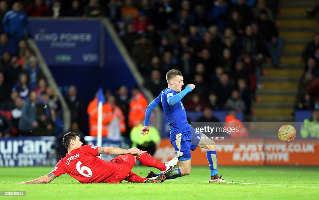 Jamie Vardy of Leicester City goes past Dejan Lovren of Liverpool to go on and score to make it 2-0 during the Barclays Premier League match between Leicester City and Liverpool at the King Power Stadium on February 02 , 2016 in Leicester, United Kingdom.