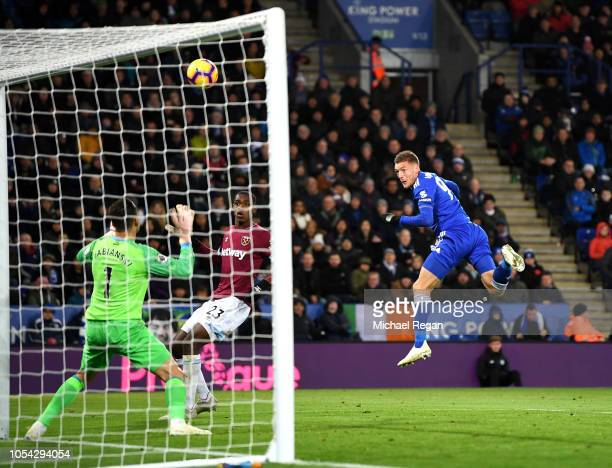 Jamie Vardy of Leicester City heads over during the Premier League match between Leicester City and West Ham United at The King Power Stadium on...