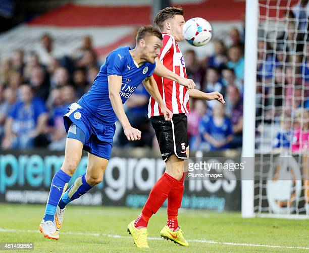 Jamie Vardy of Leicester City heads the ball towards goal during the preseason friendly between Lincoln City and Leicester City at Sincil Bank...