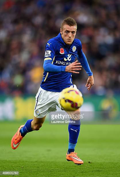 Jamie Vardy of Leicester City in action during the Barclays Premier League match between Leicester City and West Bromwich Albion at The King Power...