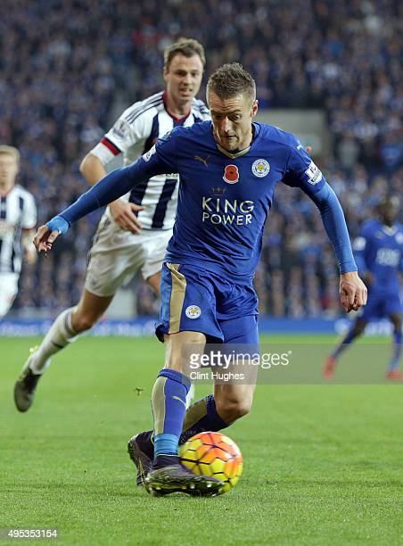 Jamie Vardy of Leicester City in action during the Barclays Premier League match between West Bromwich Albion and Leicester City at the Hawthorns on...