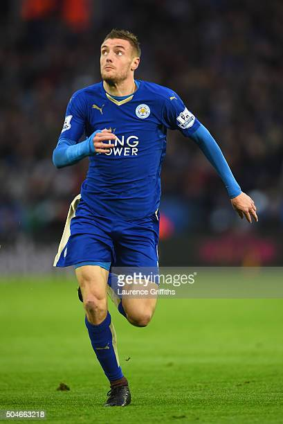 Jamie Vardy of Leicester City in action during the Barclays Premier League match between Leicester City and Bornemouth at The King Power Stadium on...
