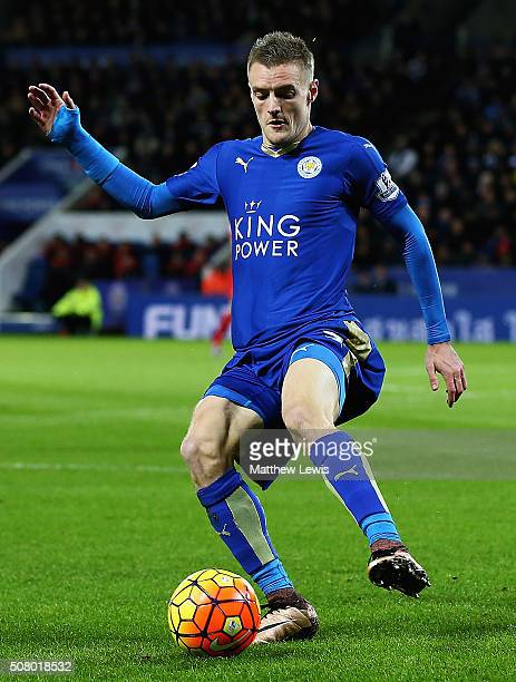 Jamie Vardy of Leicester City in action during the Barclays Premier League match between Leicester City and Liverpool at The King Power Stadium on...