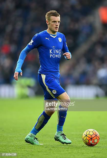 Jamie Vardy of Leicester City in action during the Barclays Premier League match between Leicester City and Norwich City at The King Power Stadium on...