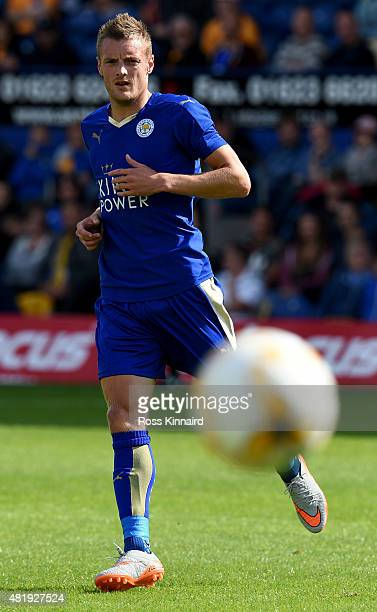Jamie Vardy of Leicester City in action during the pre season friendly match between Mansfield Town and Leicester City at the One Call Stadium on...