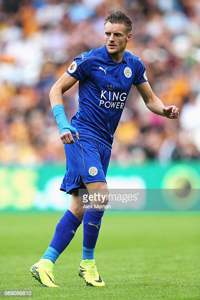Jamie Vardy of Leicester City in action during the Premier League match between Hull City and Leicester City at KCOM Stadium on August 13 2016 in...