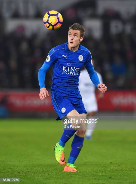 Jamie Vardy of Leicester City in action during the Premier League match between Swansea City and Leicester City at Liberty Stadium on February 12...