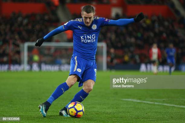 Jamie Vardy of Leicester City in action during the Premier League match between Southampton and Leicester City at St Mary's Stadium on December 13...