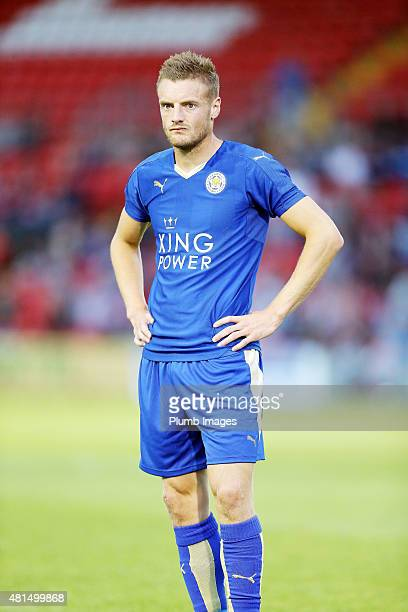 Jamie Vardy of Leicester City in action during the preseason friendly between Lincoln City and Leicester City at Sincil Bank Stadium on July 21 2015...