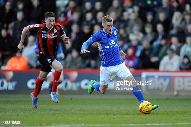 Jamie Vardy of Leicester City in action during the Sky Bet Championship match between Bournemouth and Leicester City at Goldsands Stadium on February...