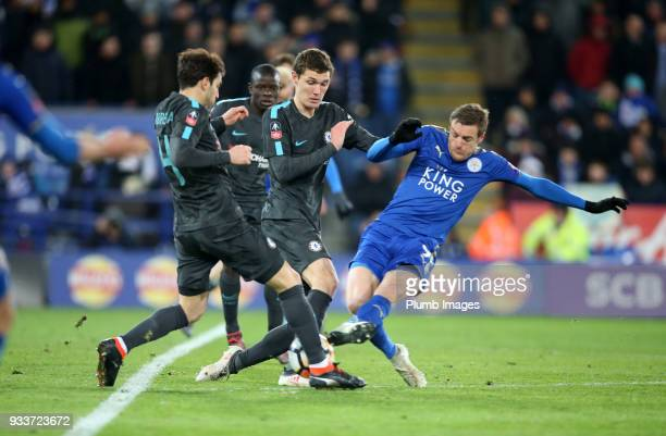 Jamie Vardy of Leicester City in action with Andreas Christensen and Cesc Fabregas of Chelsea during The Emirates FA Cup Quarter Final tie between...