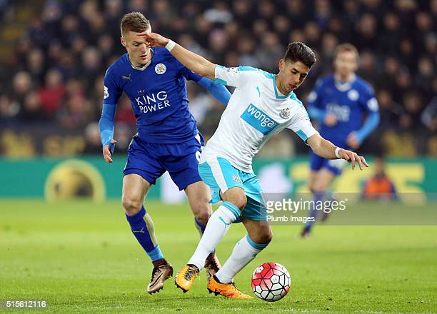 Jamie Vardy of Leicester City in action with Ayoze Perez of Newcastle during the Barclays Premier League match between Leicester City and Newcastle...