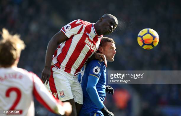 Jamie Vardy of Leicester City in action with Badou Ndiaye of Stoke City during the Premier League match between Leicester City and Stoke City at King...