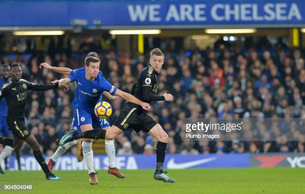 Jamie Vardy of Leicester City in action with Ceasr Azpilicueta of Chelsea during the Premier League match between Chelsea and Leicester City at...