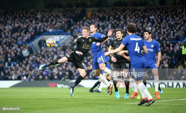 Jamie Vardy of Leicester City in action with Cesar Azpilicueta of Chelsea during the Premier League match between Chelsea and Leicester City at...