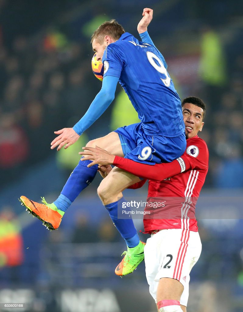 Jamie Vardy of Leicester City in action with Chris Smalling of Manchester United during the Premier League match between Leicester City and Manchester United at King Power Stadium on February 05 , 2017 in Leicester, United Kingdom.