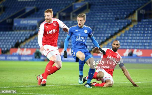 Jamie Vardy of Leicester City in action with Cian Bolger of Fleetwood Town during the FA Cup Third round replay between Leicester City and Fleetwood...