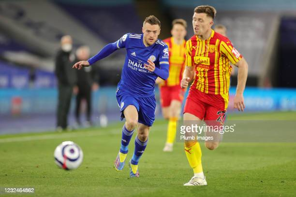 Jamie Vardy of Leicester City in action with Dara O'Shea of West Bromwich Albion during the Premier League match between Leicester City and West...